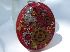Large Steampunk Maroon Red Glitter Resin Pendant with Watch Parts, Gears, Cogs with Copper Chain Option by PassionInAction