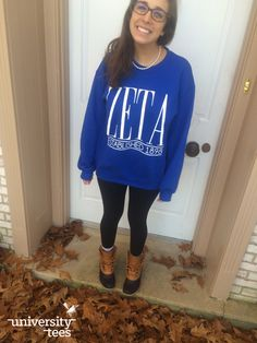 fall is for leaves and big sweaters | Zeta Tau Alpha | Made by University Tees | universitytees.com