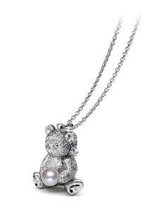 Teddy Bear Pendant - White Gold