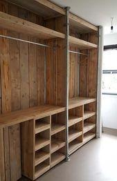 Pallet wardrobe: 50 ideas for decoration – New decoration styles in 2020 (With images) Pallet Wardrobe, Pallet Closet, Rustic Closet, Bedroom Closet Design, Bedroom Storage, Woodworking Inspiration, Build A Closet, Closet Remodel, Closet Shelves