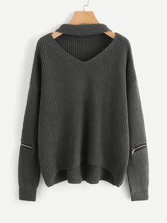Plus V Cut Chock Neck Zipper Sleeve Sweater -SheIn(Sheinside) Sweater  Outfits 2aa4aac0e