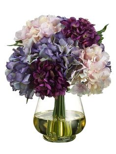 "ZFG483-PU/LV 12"" Hydrangea in Glass Vase w/Re-Shippable Inner Box & 2.5""H Water Illusion Purple La"