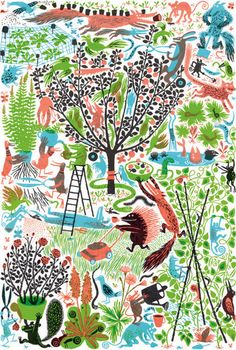 Katherina Manolessou   Gardening    A screenprint for Ted Baker and the Association of Illustrators. You can find out more about the project here www.tedbakerpromotions.co.uk/bakers-dozen/index.html