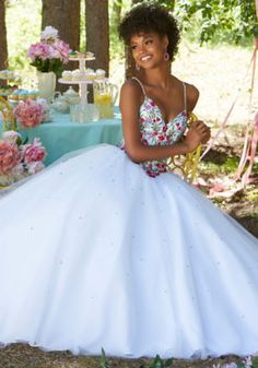 Floral Embroidered Tulle Prom Ballgown with Deep-V Neckline and Basque Waist | Morilee