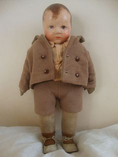 Rare antique Kathe Kruse boy doll, Kleines Du Mein, original clothes?
