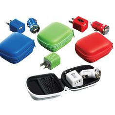 A travel amenity kit for your phone! 2 prong wall single port USB charger and a single port USB car cigarette-lighter charger. Charging cables are not included. A great promotional giveaway for trade shows, conventions and electronics-themed promotions, customize this set with an imprint of your company logo.