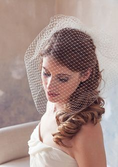"Birdcage Veil, Bird Cage Veil, Wedding Veil, Blusher Veil, Large Full Bridal Veil in Russian Netting - 18"" - Made to order in White, Ivory"
