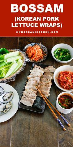 Bossam (Korean Pork Lettuce Wraps) - My list of the most healthy food recipes Korean Lettuce Wraps, Pork Lettuce Wraps, Wrap Recipes, Asian Recipes, Ethnic Recipes, Hawaiian Recipes, Korean Dishes, Korean Food, Korean Pork Belly