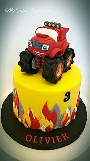 55 New Ideas For Blaze Monster Truck Cake Torta Blaze, Bolo Blaze, Blaze Cakes, Festa Monster Truck, Monster Truck Birthday Cake, Monster Trucks, Blaze Birthday Cake, 4th Birthday Cakes, Blaze And The Monster Machines Cake