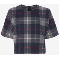 rag & bone Plaid Crop Tee (1,750 MXN) ❤ liked on Polyvore featuring tops, t-shirts, shirts, crop top, short sleeve shirts, plaid shirts, short sleeve plaid shirts, crop t shirt and preppy t shirts
