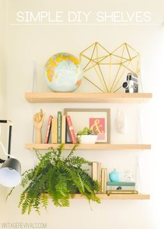Simple DIY Shelves (love that all of these supplies came from Home Depot!)