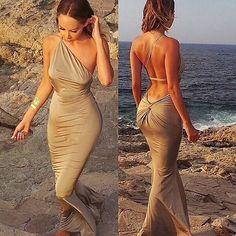 Aliexpress.com: Compre 2015 nova moda vestidos vestidos o pescoço sem mangas spaghetti casual mulheres vestido do verão de confiança mulheres de vestido fornecedores em To Be The Best Boutique