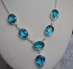 Stunning  Sterling Silver and Blue Topaz  Necklace by BAYTREEGIFTS, $80.00