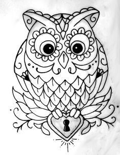 cute outline owl tattoo for one of my little ladies. Colouring Pages, Adult Coloring Pages, Coloring Sheets, Coloring Books, Owl Outline, Heart Outline, Buho Tattoo, Tattoo Owl, Owl Art
