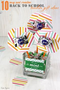 "10 easy and creative back to school teacher gift ideas | FREE ""you were mint to be my teacher"" printables and more 