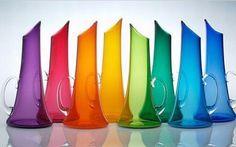 A Rainbow Of Hand Blown Glass Pitchers Taste The Rainbow, Over The Rainbow, Rainbow River, Rainbow Things, All The Colors, Vibrant Colors, Rainbow Glass, Rainbow Magic, Rainbow Aesthetic