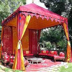 canvas canopied tents - Google Search. It could be easy to make one of these, and it would add colour to the garden. I like this style.