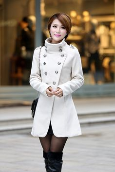 Military Coat in White from Cute Japanese Fashion. Saved to Coats & Hoodies. Military Style Coats, Cute Japanese, Country Outfits, Cold Day, Asian Style, Japanese Fashion, Military Fashion, Coats For Women, Double Breasted