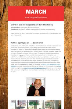 March Eric Carle, Sentences, Physics, March, Author, Education, Reading, Words, Spotlight