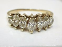 3/4 CT Marquise Diamond Pyramid Anniversary Ring Solid 14k Yellow Gold Sz 7.5…