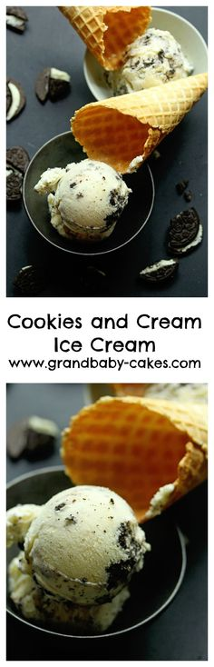 The Best Cookies and Cream Ice Cream recipe out there! A decadent and rich vanilla based ice cream filled with chocolate cookies and cream sandwiches sprinkled throughout. ~ http://www.grandbaby-cakes.com