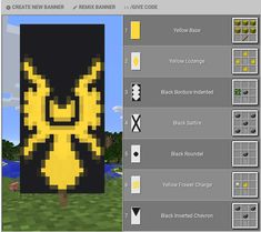 The Minecraft Zapdos Banner was contributed by . Minecraft Kunst, Minecraft Plans, Minecraft Room, Minecraft Tutorial, Minecraft Blueprints, Minecraft Crafts, Minecraft Stuff, Minecraft Banner Patterns, Cool Minecraft Banners
