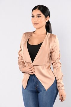 - Available In Gold And Mauve - Open Front Jacket - Drape Front - Ruching Detail On Sleeve - 92% Polyester 8% Spandex