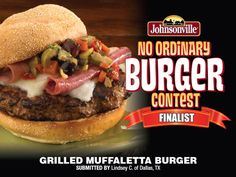 """Grilled Muffaletta Burger"""" made with Johnsonville Italian Sausage ..."""