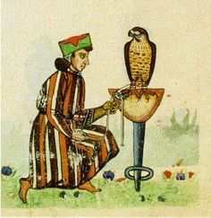 On The Art of Hunting with Birds, 1240s, written by Frederick II, Holy Roman Emporer.  A falcon at his stand.