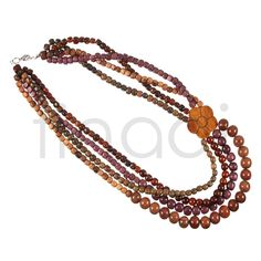Wooden jewelry - Necklace made of various exotic woods