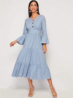 Flounce Sleeve Ruffle Hem Fit And Flare Dress