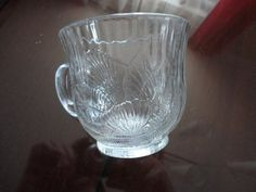 Vintage Glass Cup Flower Embossed Design Indonesia cp-766