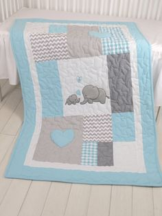 Aqua Gray Blanket, Elephant Quilt Blanket, Chevron Baby Patchwork Blanket by Customquiltsbyeva on Etsy