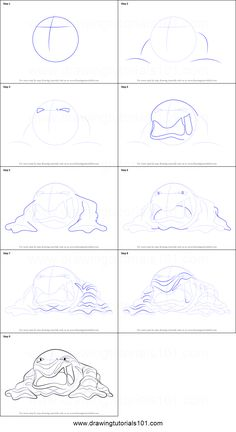 How to Draw Muk from Pokemon printable step by step drawing sheet : DrawingTutorials101.com