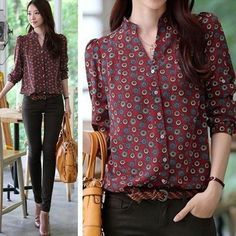 New Autumn Women Long Sleeve Chiffon Button Down Shirt Casual Career Blouse Tops Casual Chic, Work Casual, Casual Wear, Casual Outfits, Fashion Outfits, Womens Fashion, Women Button Down Shirt, Looks Style, Office Outfits