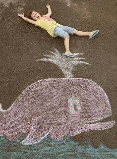 Whale Spout Sidewalk Chalk Photo, this gives me some ideas..........