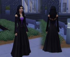 My Sims 4 Blog: Long Witch Dress with 10 Color Options for Teen - Elder Females by Kiara24 - MyStuff