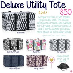 Deluxe Utility Tote by Thirty-One. Fall/Winter 2015. Click to order. Join my VIP Facebook Page at https://www.facebook.com/groups/1603655576518592/