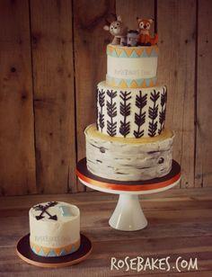 Woodland Animals Tree Stump Baby Shower Cake - Rose Bakes