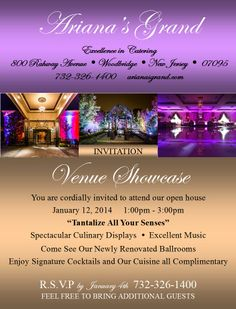 You are cordially invited to attend an Open House / Venue Showcase at Ariana's Grand in Woodbridge, NJ on Sunday, January 12, 2014!