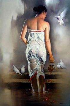 Painting of Bikash Bhattacharjee Indian Women Painting, Indian Art Paintings, Woman Painting, Figure Painting, Painted Ladies, India Beauty, Beauty Art, Beautiful Paintings, Erotic Art