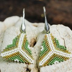 golden and white beaded earring with stunning Japanese Miyuki beads and sterling silver hardware