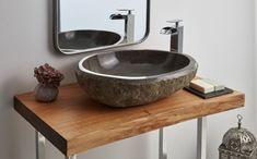 Stone Bathroom Sink, Stone Sink, Bathroom Accesories, Guest Toilet, Vessel Sink, Small Apartments, Powder Room, Sweet Home, Shower