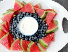 This red, white, and blue fruit platter with yogurt dip is a simple, delicious, and healthy four- ingredient patriotic appetizer!