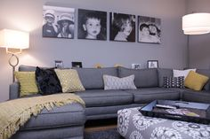 A sungold and grey living room with at least 10 different patterns and shades of yellow.