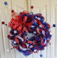 Patriotic 4th of July Deco Mesh Wreath.  Memorial Day, Red, White, and Blue Sparkle wreath. USA decor.  4th of July Decor on Etsy, $48.00