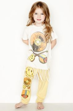 Snow Color Record S/S Fringe Tee