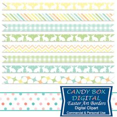 Easter Digital Ribbon Border Clipart with Easter Eggs and Easter Baskets by CandyBoxDigital. These playful ribbon borders are just right for Easter! They can be used as borders for invitations, cards, newsletters, as website dividers, etc... At our Etsy shop.