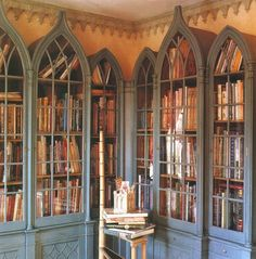 Gothic+Bookcase+World+of+Interiors+James+Mortimer+FindNY+George+Case. World Of Interiors, Dream Library, Future Library, Library Wall, Library Books, Book Storage, Yarn Storage, Home Libraries, Up House