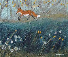 Daisy Fox. Mixed Media 25x29cms. Ingeborg Smith. Artist Profile, Moose Art, Daisy, Mixed Media, Fox, Gallery, Animals, Painting, Illustrations